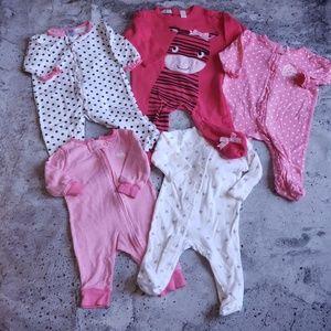 Carter's/Gerber Baby Girl 5pc Mixed Layette Bundle